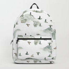 Hand painted green gray watercolor cloud bird pattern Backpack
