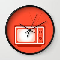 tv Wall Clocks featuring television by brittcorry