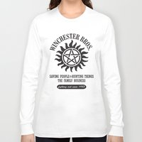 sam winchester Long Sleeve T-shirts featuring SUPERNATURAL WINCHESTER BROTHERS DEAN AND SAM by thischarmingfan