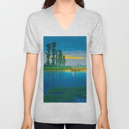 Vintage Japanese Woodblock Japanese Wetlands Landscape Tall Ancient Tree Unisex V-Neck