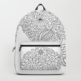 Flowers Heart Coloring Page, Flourish and Bloom Backpack