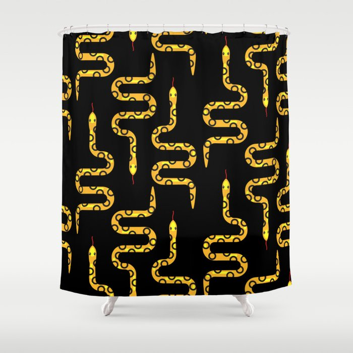 Yellow rattlesnake with black rings Shower Curtain