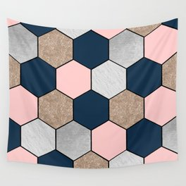 Navy and peach marble and foil hexagons Wall Tapestry