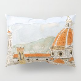 Italy Florence Cathedral Duomo watercolor painting Pillow Sham
