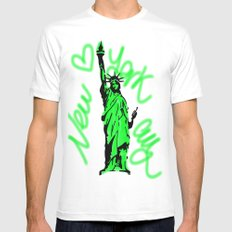 New York City Neon Green Mens Fitted Tee White SMALL