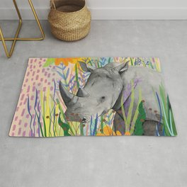WHITE RHINO illustration Rug