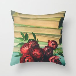 Books and Flowers Throw Pillow