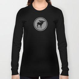 Bull Moose Silhouette - Black on Gray Long Sleeve T-shirt