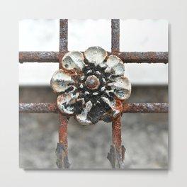 Rusted Rosette Flora Metal Print