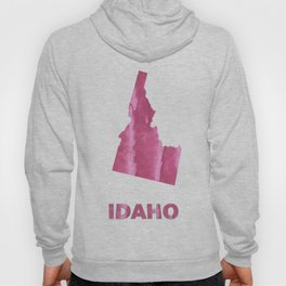 Idaho map outline Pale violet red blurred wash drawing Hoody