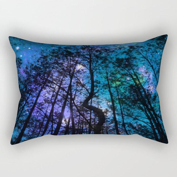 Black Trees Teal Purple Space Rectangular Pillow
