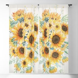 Loose Watercolor Sunflowers Blackout Curtain
