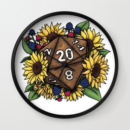 Sunflower D20 Tabletop RPG Gaming Dice Wall Clock