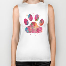 Colorful Paw Biker Tank