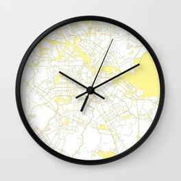 Amsterdam White on Yellow Map Wall Clock