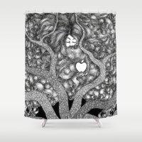 hair Shower Curtains featuring Hair by Slavena Peneva