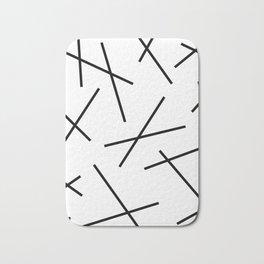 Black and white mikado stripes dash pattern Bath Mat
