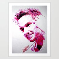 liam payne Art Prints featuring Liam Payne by Drawpassionn