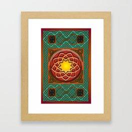 Celtic Knotwork panel in Persian Green Framed Art Print