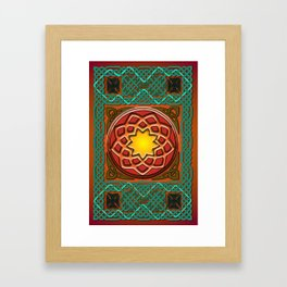 Celtic Knotwork panel in Persian Green Framed Art Print