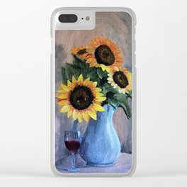 Sunflowers and Wine Clear iPhone Case