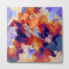psychedelic geometric polygon pattern abstract in orange brown blue purple Metal Print