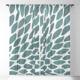 Watercolor brush strokes burst - teal Sheer Curtain