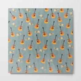 Guitars and Cowboy Hats Pattern Metal Print