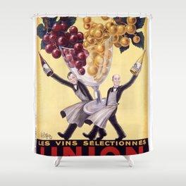 Vintage Union Bar Italian Wine Waiters Advertisement Poster Shower Curtain