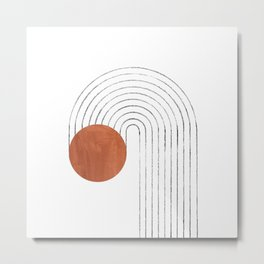 Terracotta circle and curved lines Metal Print