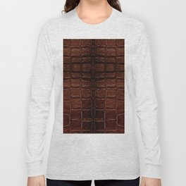 Dark brown snake leather cloth imitation Long Sleeve T-shirt