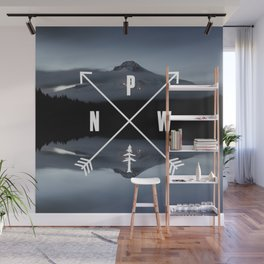 PNW Pacific Northwest Compass - Mt Hood Adventure Wall Mural