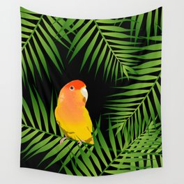 Lovebird Parrots in Green Palm Leaves on Black Wall Tapestry
