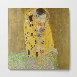 The Kiss by Gustav Klimt Metal Print