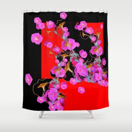 Garden Morning Glories Flowers on Red & Black Shower Curtain