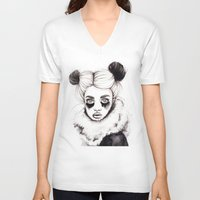 red panda V-neck T-shirts featuring Panda by Nora Bisi