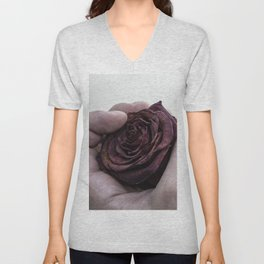 Hand Clutching a Dying Rose Unisex V-Neck