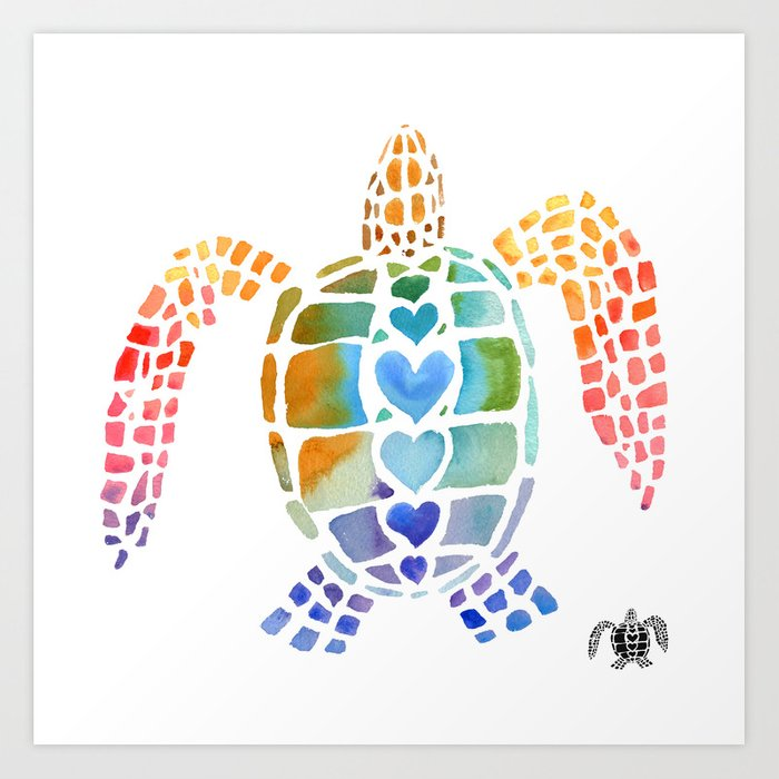Hug a Sea Turtle Art Print