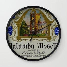 Vintage Orange Clock Yalumba Moselle Wine Bottle Label Print Wall Clock