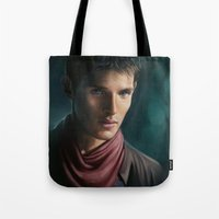 merlin Tote Bags featuring Merlin by Angela Taratuta