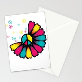 Flower Petals LGBT Peace Sign Stationery Cards