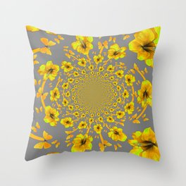 CHARCOAL GREY YELLOW AMARYLLIS BUTTERFLY ART Throw Pillow