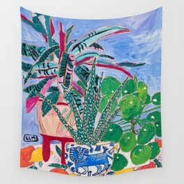 Houseplant collection Still Life on Blue Painting with Stromanthe Triostar, Pilea, and Snake Plant and Lion Vase Wall Tapestry
