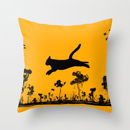The Cat and Ink drop bombs Throw Pillow