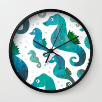 racing Wall Clocks featuring Seahorse Racing by Andrew Fox