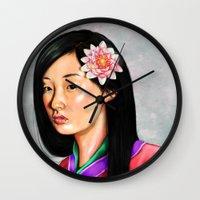 mulan Wall Clocks featuring mulan by Anja-Catharina