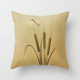 Cattails And Dragonfly Throw Pillow