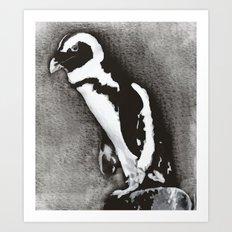 Charcoal Penguin Art Print