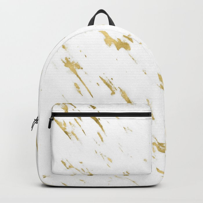 Gold White Marble - Trendy Yellow Gold Marble Backpack