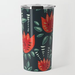 Abstract Red Tulip Floral Pattern Travel Mug
